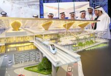 Sheikh Hamdan bin Mohammed, Crown Prince of Dubai, observes a model of one of the stations which will be built as part of the extension of the Dubai Metro's Red Line. Wam