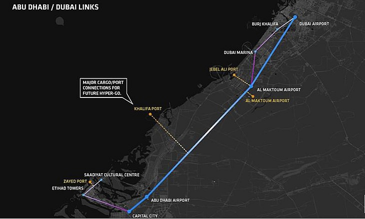 hyperloop one route from dubai to abu dhabi revealed