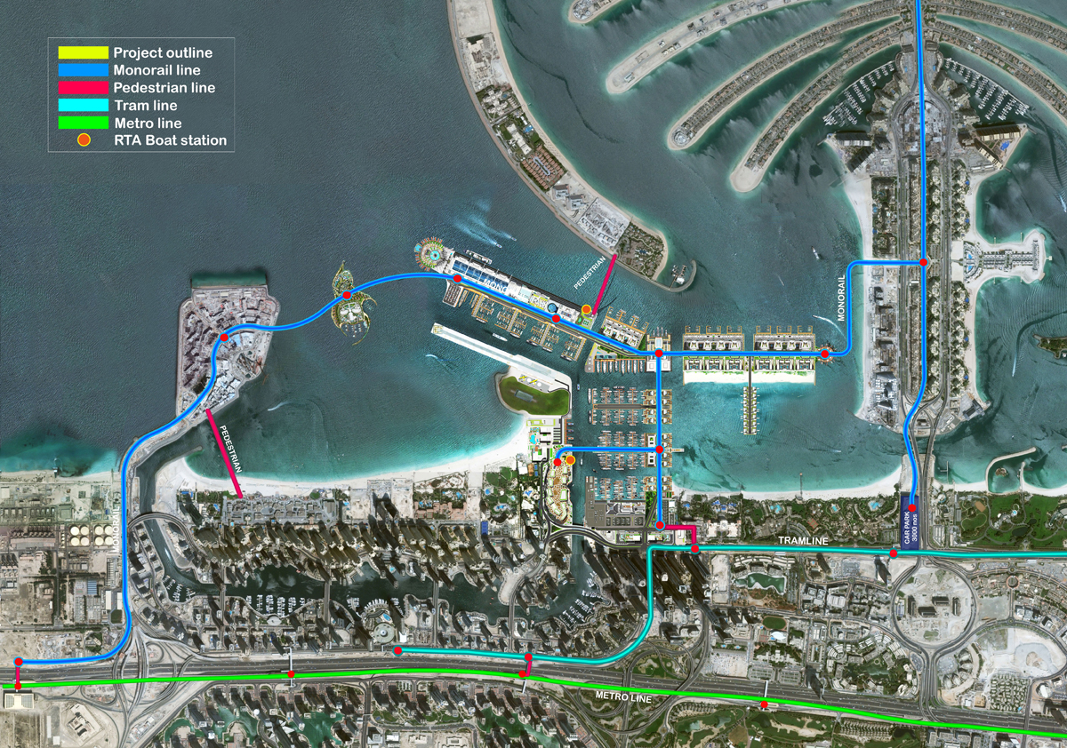 Integrated transport infrastructure Dubai Harbour Bluewaters
