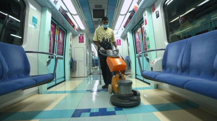 During working hours, trains are cleaned every time the train completes a full journey from Al Rashidiya Station to the UAE Exchange Metro Station, where a specialised team performs cleaning and sanitisation procedures before the return trip. Image Credit: RTA